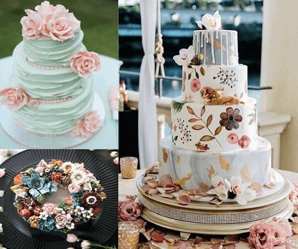 Các mẫu bánh kem đám cưới được trang trí bằng hoa kem bơ Hàn Quốc