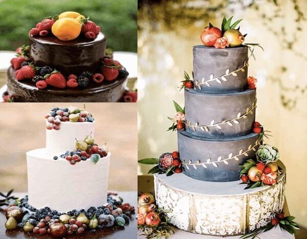 Các mẫu bánh kem đám cưới được trang trí bằng trái cây tươi