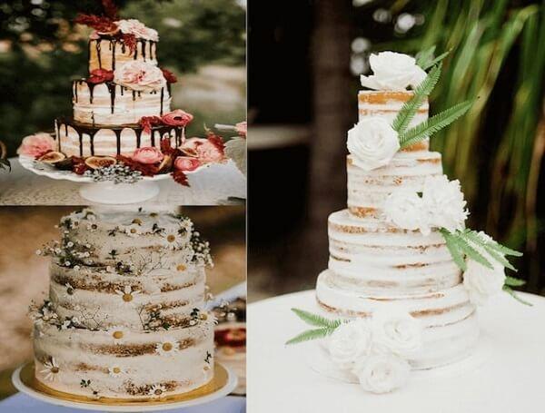"""Các mẫu bánh kem đám cưới theo phong cách """"trần"""" mộc mạc"""