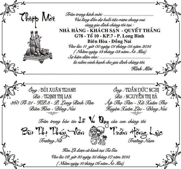 Phần nội dung thông tin trên thiệp cưới