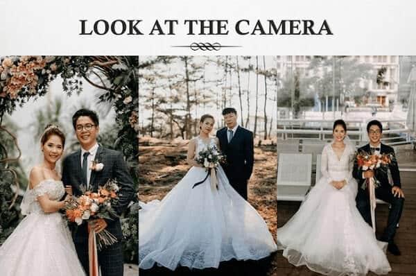 Cách tạo dáng chụp ảnh cưới nhìn thẳng vào máy ảnh