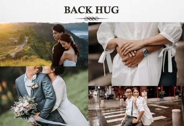 Tạo dáng chụp ảnh cưới ôm từ phía sau