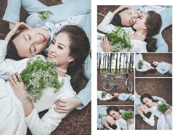 Mẫu hoa cưới đơn giản sẽ phù hợp với chụp ảnh ngoài trời